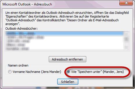 Konfiguration der Anzeigereihenfolge im Outlook Adressbuch