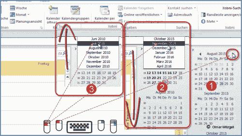 Outlook Kalender Datumswechsler