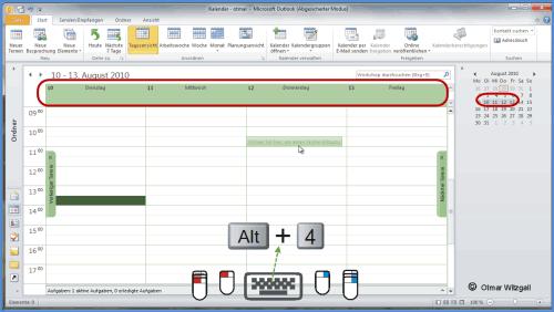 Im Outlook-Kalender mehrere Tage nebeneinander anzeigen