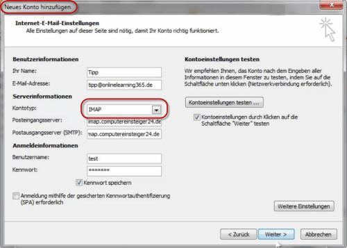 Imap-Konto in Outlook 2010 einrichten