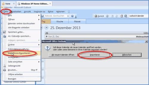 Outlook-Kalender 2003 und 2007 Schulferien-importieren
