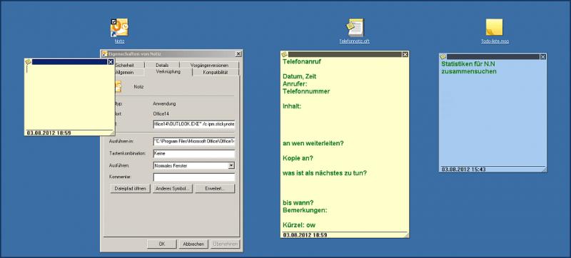 Abbildung 1: von links: 1. Verknüpfung | 2. Vorlage | 3. Notiz-Datei