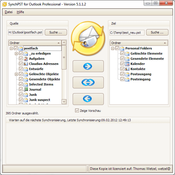 Outlook synchronisieren mit Syncpst.de