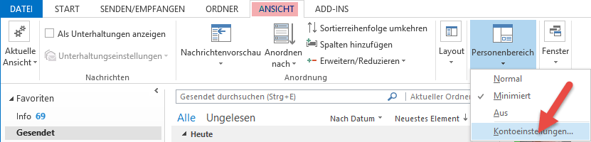 Screenshot Personenbereich Outlook 2013